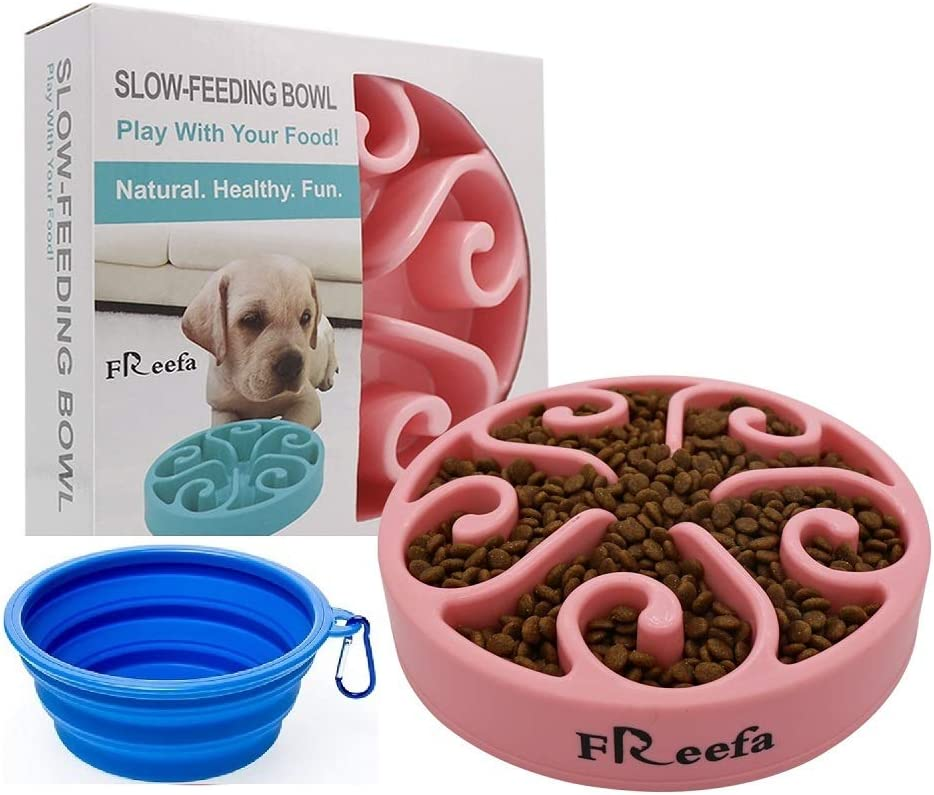 Freefa Slow Feeder Dog Bowl Bloat Stop Dog Food Bowl Maze Interactive Puzzle Non Skid, Come with Free Travel Bowl (Pink, for Small/Medium Dog)