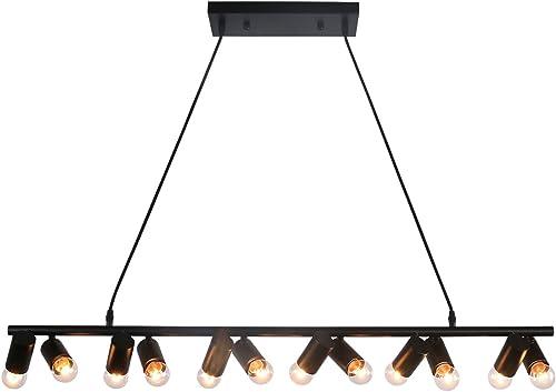 Unitary Brand Modern Black Metal Linear Dining Room Island Light with 12 E26 Bulb Sockets 480W Painted Finish