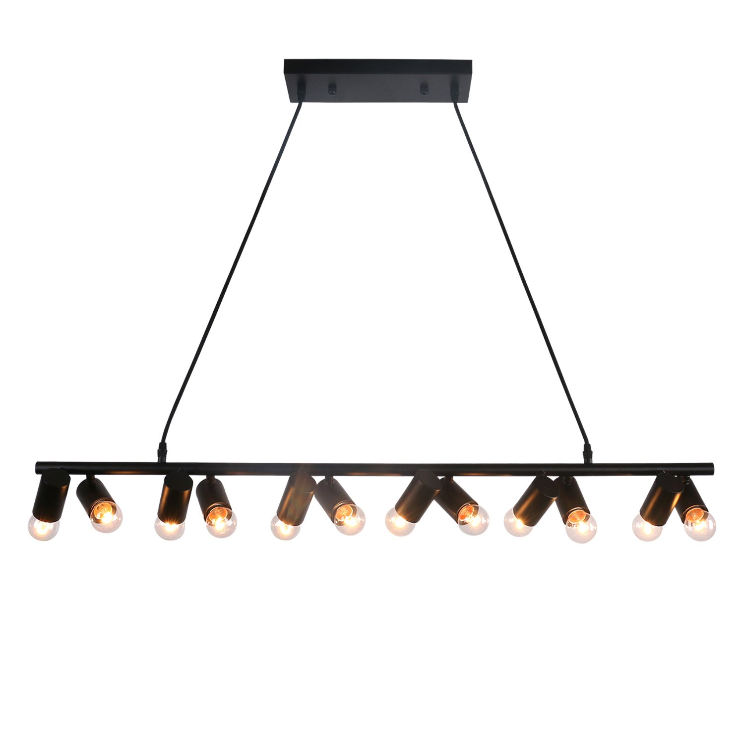 Unitary Brand Modern Black Metal Linear Dining Room Island Light with 12 E26 Bulb Sockets 480W Painted Finish