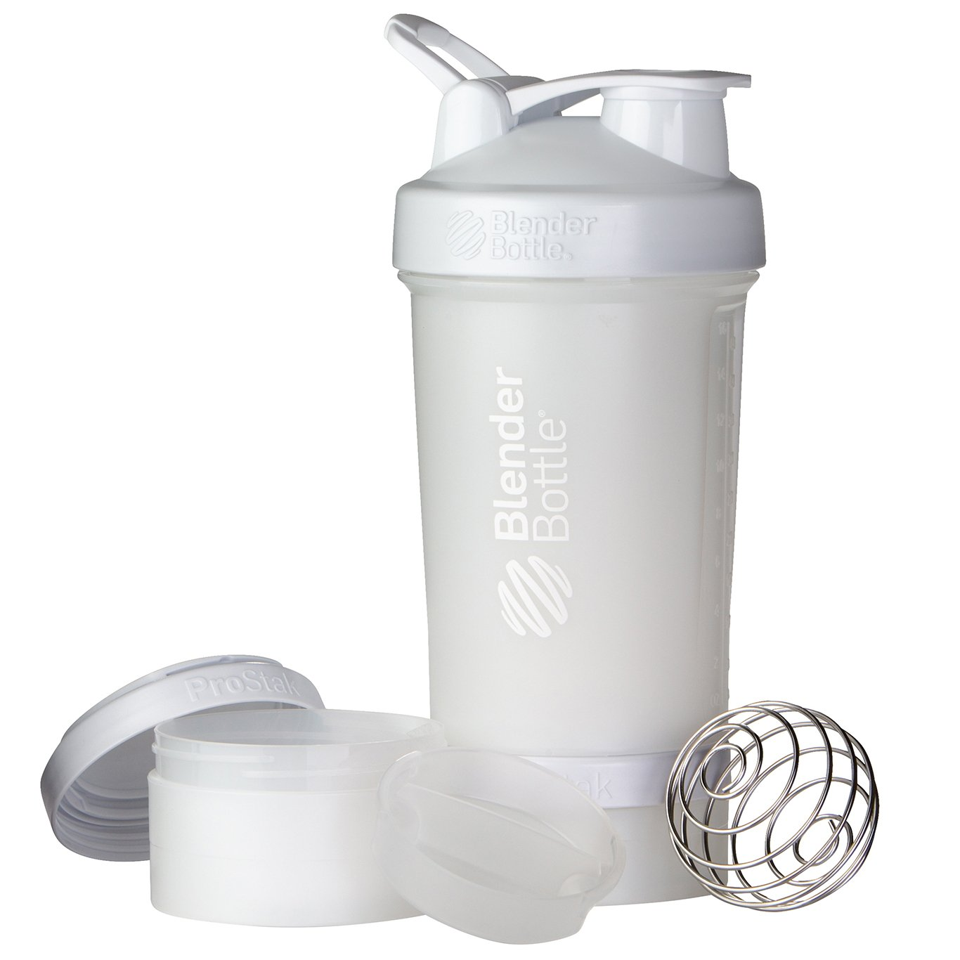 BlenderBottle ProStak System with 22-Ounce Bottle and Twist n' Lock Storage, White