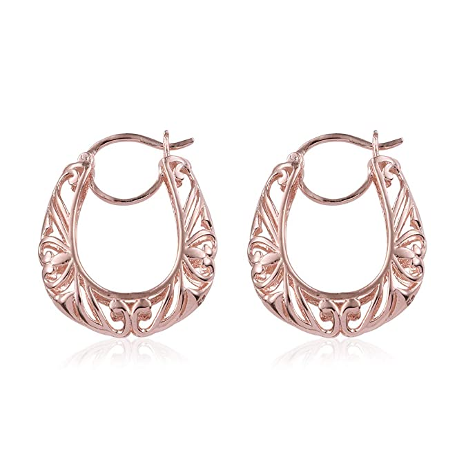 557c1c0b77296 Heart Filigree Round Openwork Basket Hoops Hoop Earrings 14K Yellow  Gold/Rose Gold/Platinum ION Plated for Women Hypoallergenic Jewelry Gift