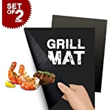 BBQ Grill Mat Set of 2 - Perfect for Baking on Gas, Charcoal, Oven and Electric Grills - Reusable, Durable, Heat Resistant Barbecue Sheets For Grilling Meat, Veggies, Seafood
