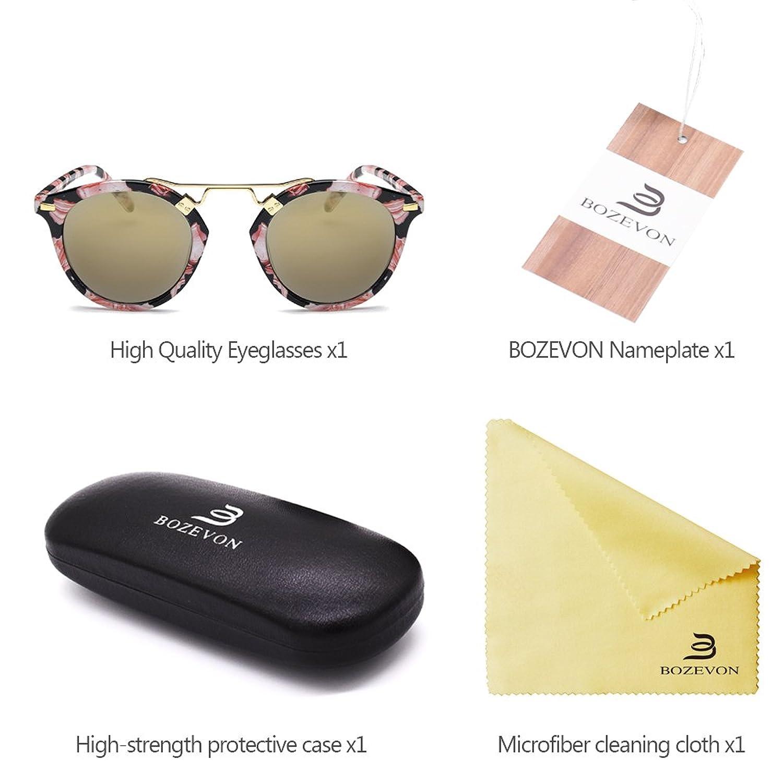 BOZEVON Adults Donne Retro Rotondi Occhiali da Sole stile vintage UV400 Occhiali da Sole,Occhiali da sole riflettenti/Nero (Cornice) -Verde (obiettivo) T2Y6unXjMi