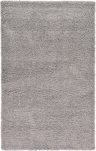 A2Z Rug (120x170 cm (4ft x 5ft8') Silver) Cozy Shag Collection Solid 5.5 cm...