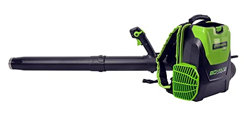 Greenworks 80V 145MPH – 580CFM Cordless Backpack Leaf Blower, 2.5Ah Battery and Charger Included BPB80L2510