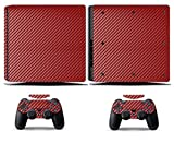 Cosines PS4 Slim Stickers Vinyl Decal Protective Console Skins Cover for Sony Playstation 4 Slim and 2 Controllers Red Carbon Fiber