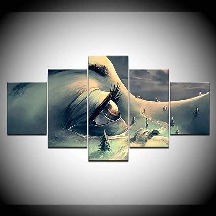 Mxsnow 5 Dipinti Su Telaio Murale Stampe Su Tela Hd Stampato Su Tela Arte Autunno Alberi Viso Umano Occhi Tela Pittura Immagini Per Pareti Amazon It Casa E Cucina