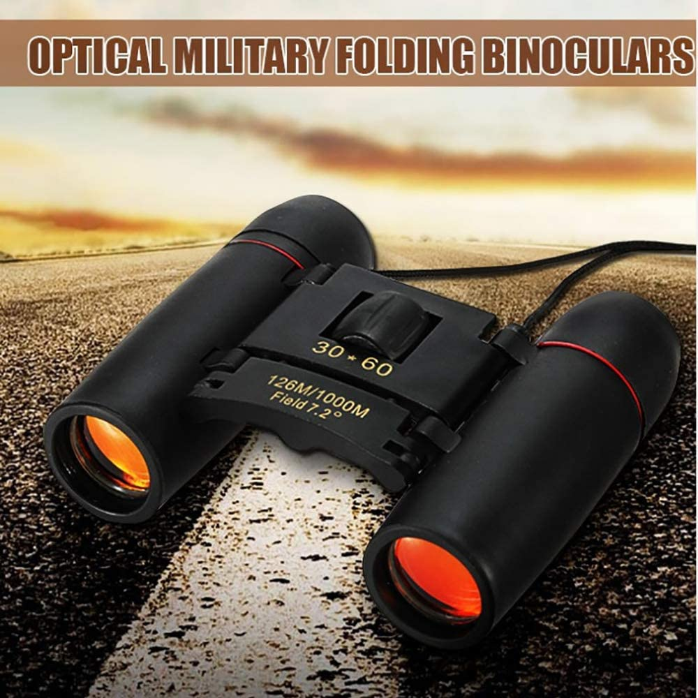 Kytree Folding Optical Military Binocular Telescope,30 x 60 Zoom Mini Telescope HD Telescope Telescope Low Light Red Film Double Barrel with Night Vision 126m-1000m