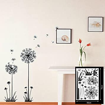 adhesivos vinilos decorativos diente de len negro removible para sala de estar pared