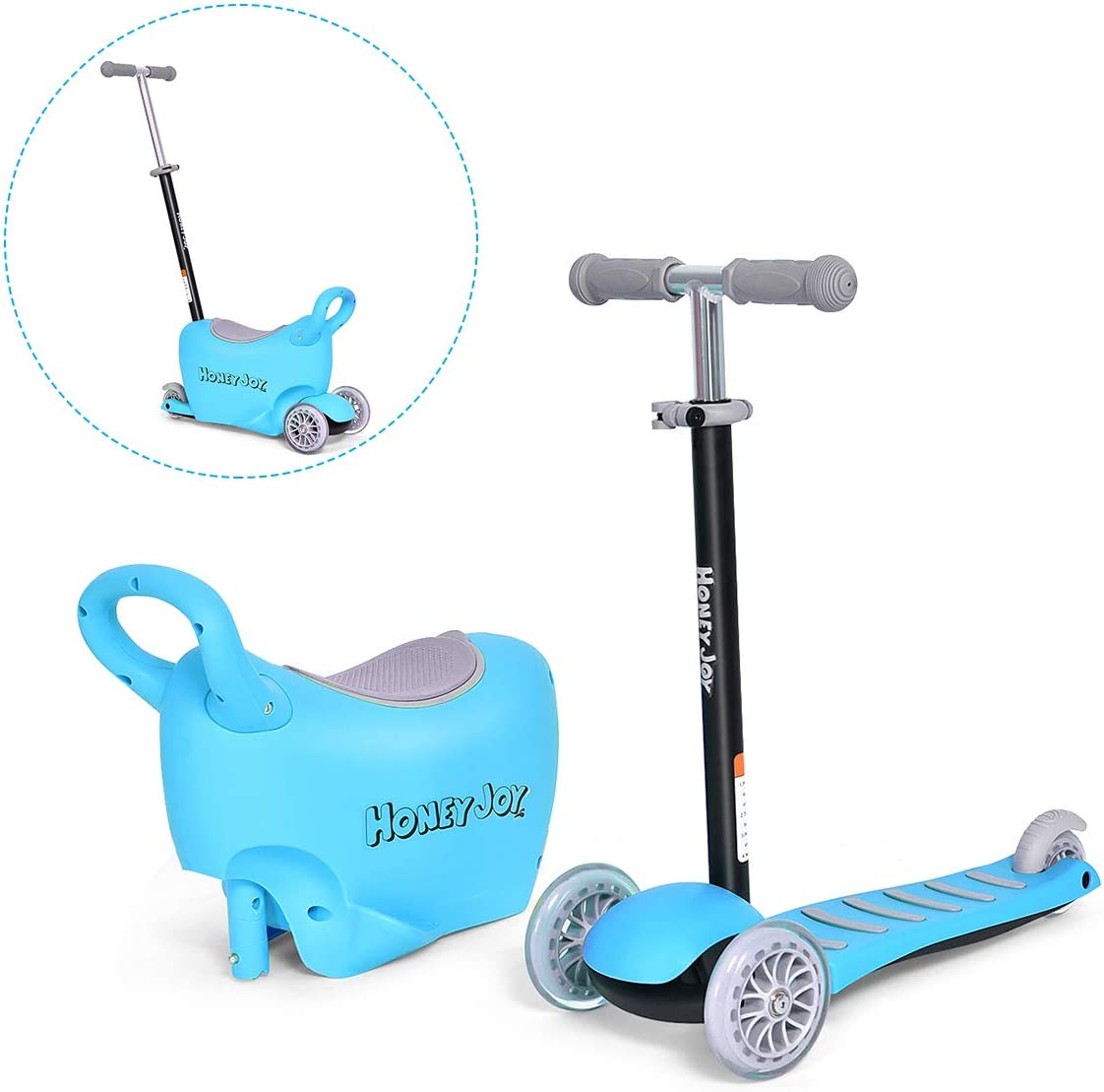 Costzon 3-in-1 Kick Scooter with Removable Seat Handle, Ride On Tricycle, Parental Push Tricycle, Great for Kids Toddlers Girls or Boys Adjustable Height w Large Storage Space