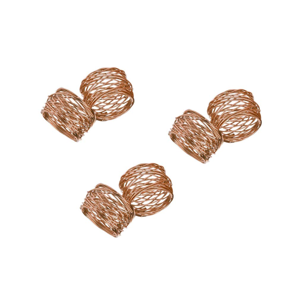Handmade Round Mesh Napkin Rings Holder for Dinning Table Parties Set of 6 Gold Copper