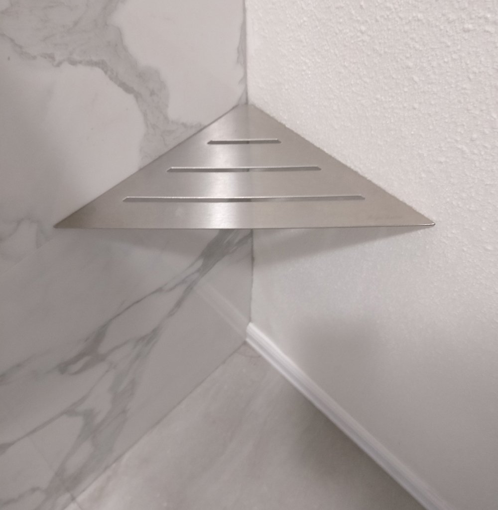 Royal Stainless Steel Triangle Shelf or Foot Prop by Serene Steam Wall Mount Shower shelf for Bathroom hardware included (Brushed Nickel)