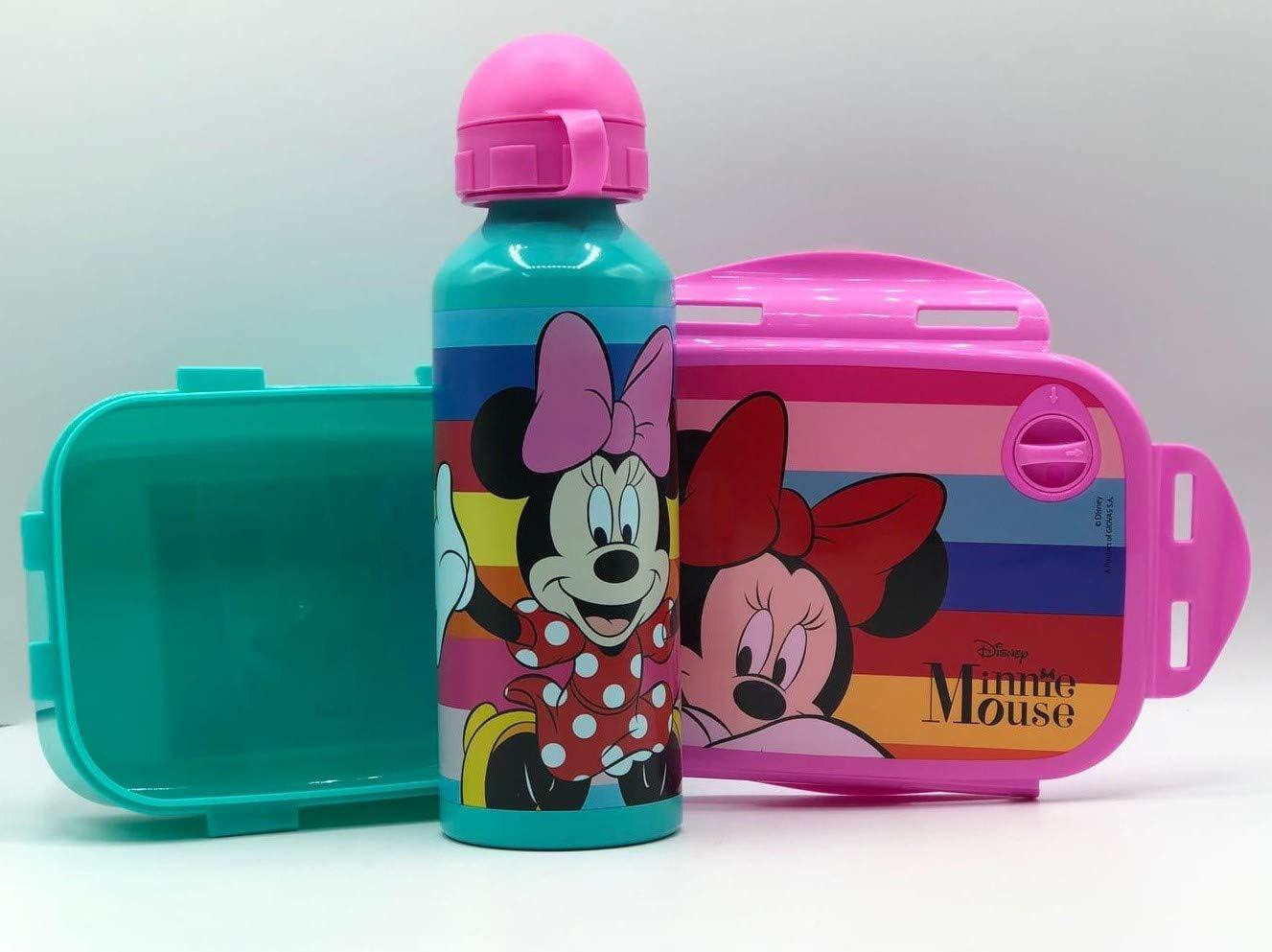 Gym Set Botella de Agua de Aluminio Infantil de 520ml con Fiambrera sandwicheras para niñas y niños, cantimplora térmica a Prueba de Fugas sin BPA Verde