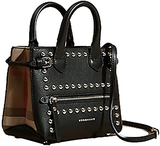 Tote Bag Handbag Burberry The Baby Banner In Studded Leather And House Check Black Item 40123881 Amazon Ca Shoes Handbags