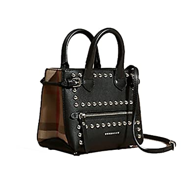 Amazon.com  Tote Bag Handbag Burberry The Baby Banner in Studded Leather  and House Check Black Item 40123881  Shoes f458d55a8e8a1