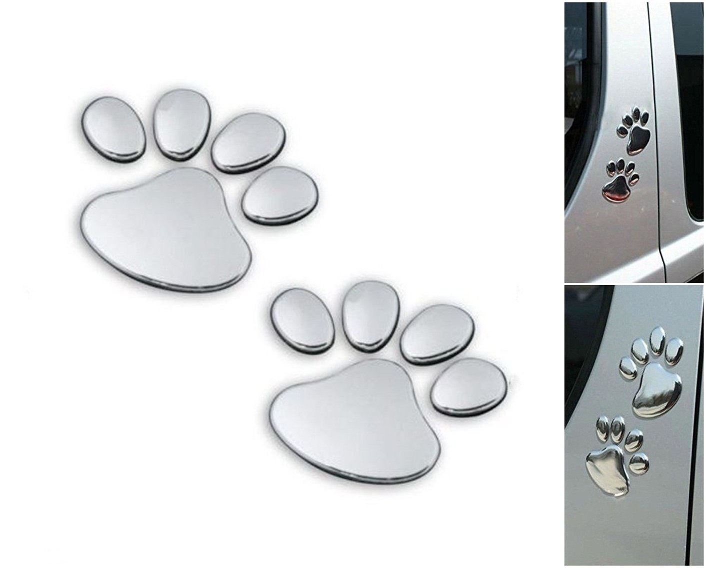Chiam-Mart 1 Pair Awe Inspiring Unique 3D Pets Paw Window Sticker Windows Badge Truck Decor Animal Wall Vinyl Luggage Hoverboard Patches Bike Graphics Laptop Stickers Colors Silver