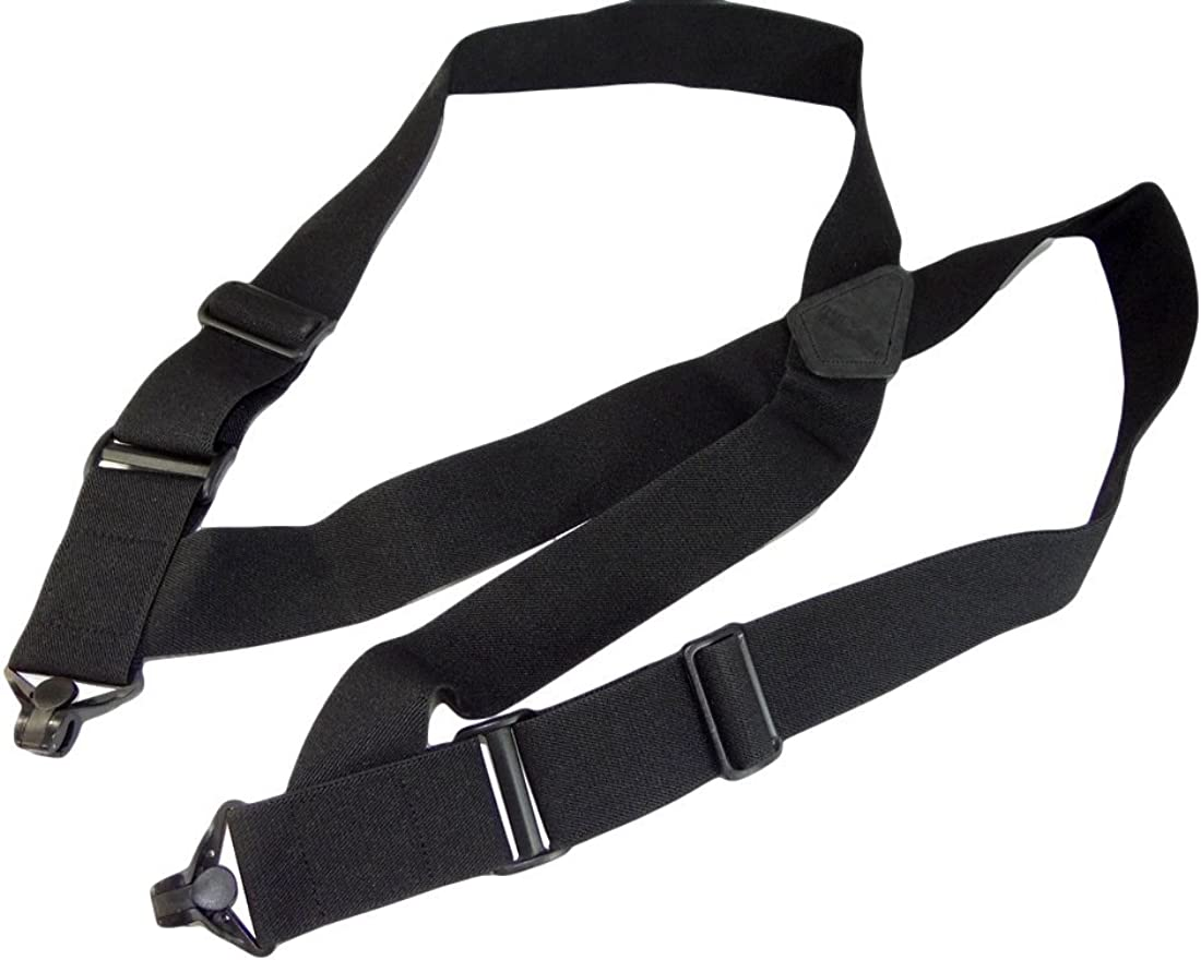 "Airport Friendly Holdup Brand No-buzz Black 2"" wide Hip Clip Suspenders with patented Jumbo Composite Plastic Gripper Clasps"