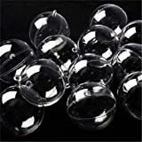 Uhat® 12 Ball Christmas Baubles Clear Fillable Xmas Tree Ornaments Decoration