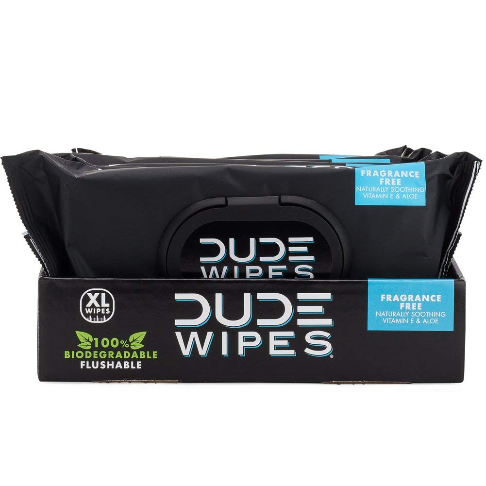 DUDE Wipes Flushable Wipes Dispenser (6 Packs 48 Wipes), Unscented Wet Wipes with Vitamin-E & Aloe for at-Home Use, Septic and Sewer Safe (Limited Edition) by Dude Products