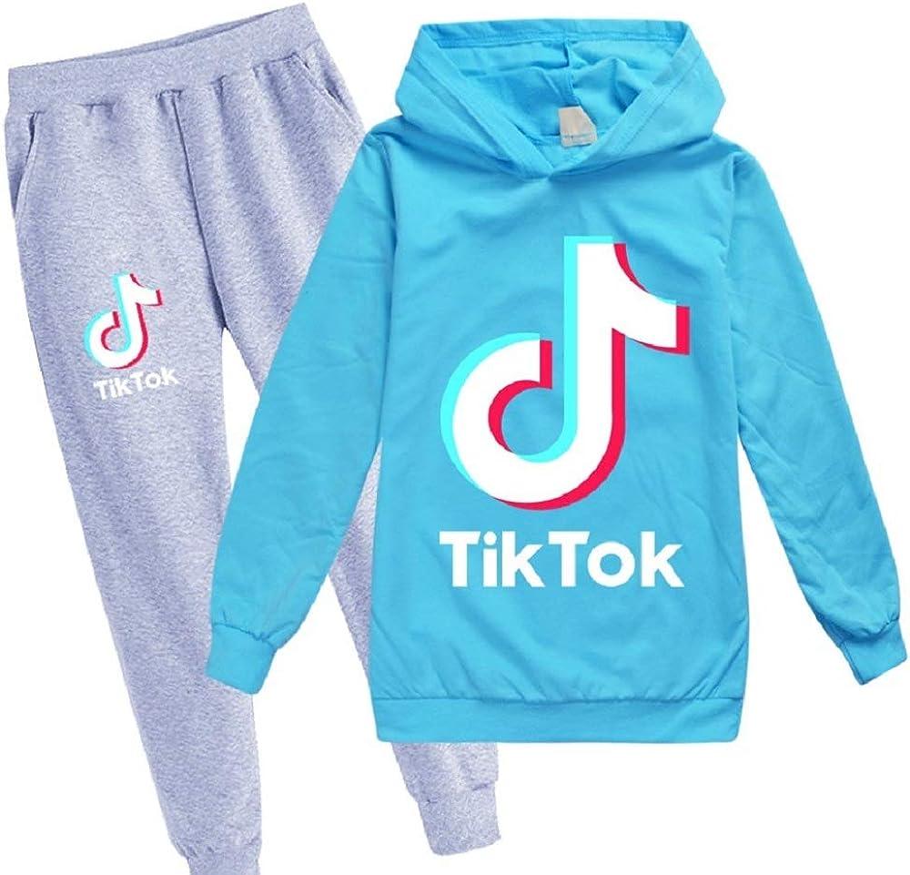 JBZXJE Bambini TIK Tok Stampati Tute Felpa con Cappuccio e Pantaloni 2 Pezzi Set Casual Pullover Abbigliamento Sportivo per Bambina e Bambini
