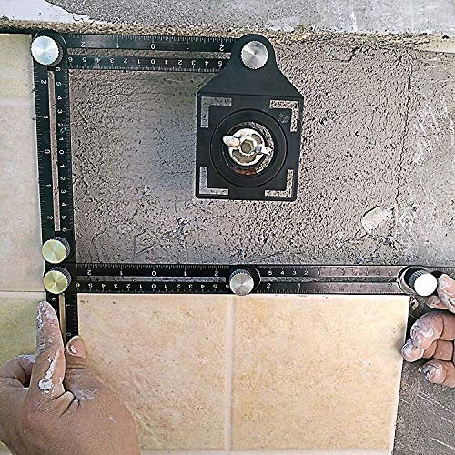 Multi-function Ruler, KeepTpeeK Angle Ruler Template Tool Full Metal Measuring Rules Layout Tool for Handymen Builders DIY Carpenters Craftsmen (6 sides)
