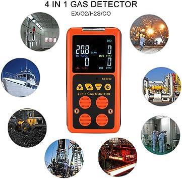 Detector de alarma de gas 4in1 LCD CO O2 H2S Medidor de analizador de gas de Monitor de oxígeno lel Herramienta
