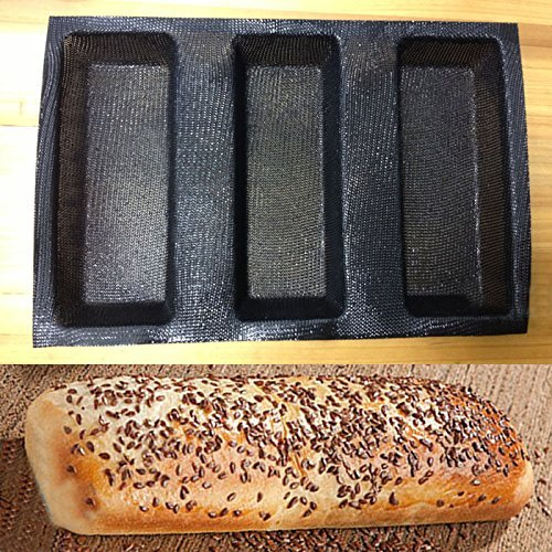 Silicone Fiberglass French Bread Baking 3 Loaves Mold Baguette Pan Tray Tool by Bakeware