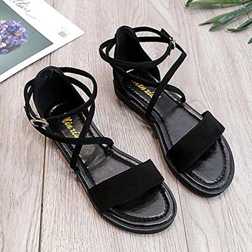 Rumas Women Flat Sandals Cross Straps Leather Open Toe Buckle Low Heel Sandals pWqXkv