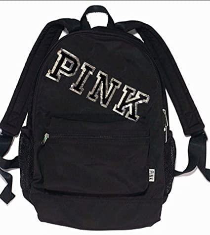 40f075385193 Image Unavailable. Image not available for. Color  Victoria s Secret Bling  Sequin CAMPUS BACKPACK BOOKBAG BLACK