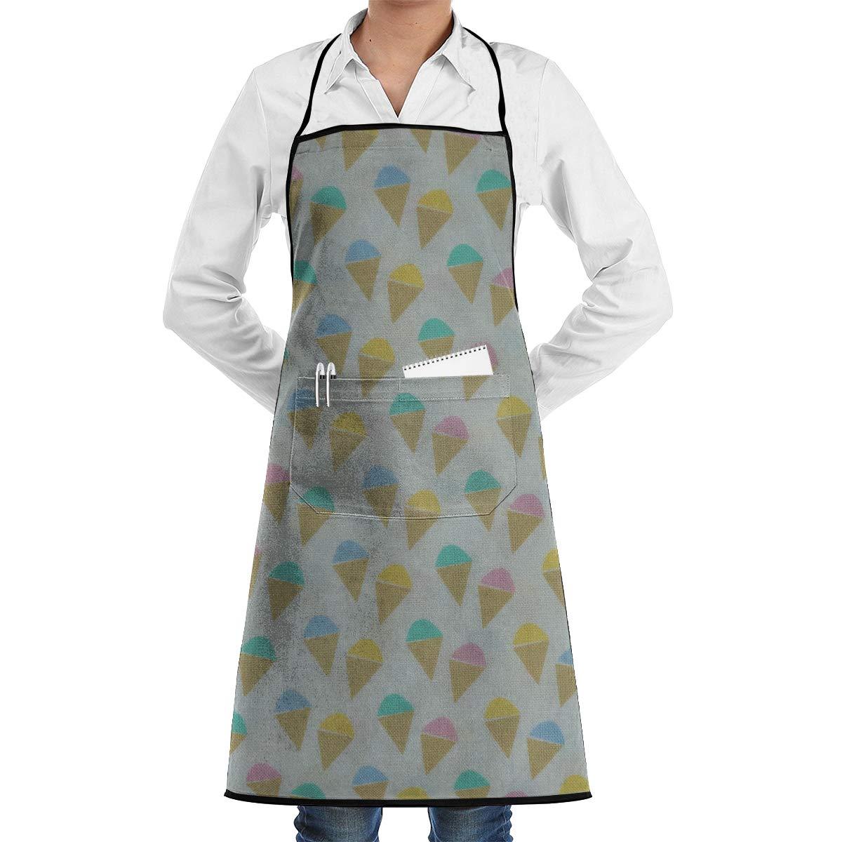 Agilitynoun Ice Cream Pop Sickle Sewing Kitchen Bib Apron Center Kangaroo Pocket Adjustable Tie Home Waterproof