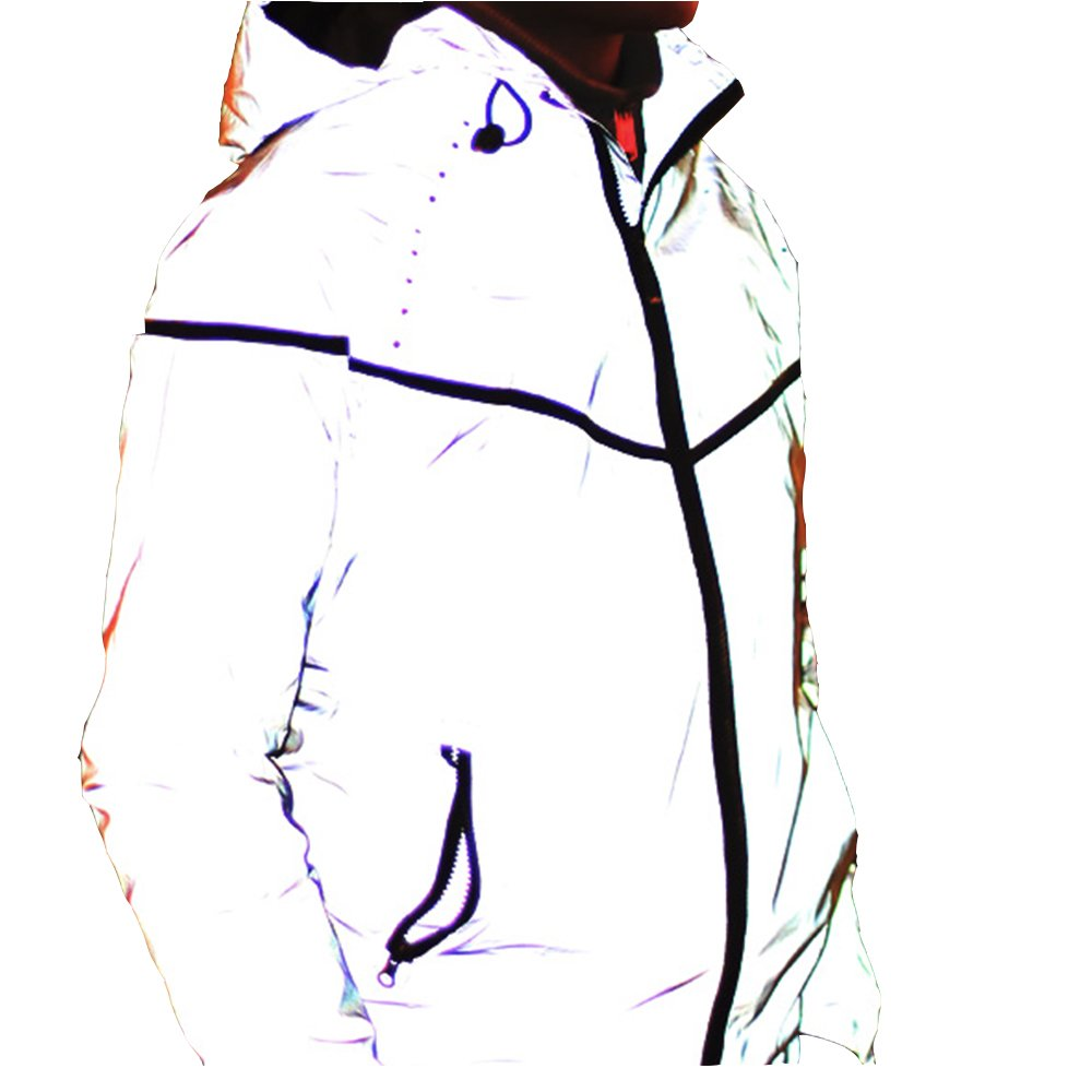Edgogvl Men's Outwear 3M Reflective Zipper Hooded Windbreaker Lightweight Running Jacket (US XL (Tag XXXL), Grey5) by Edgogvl
