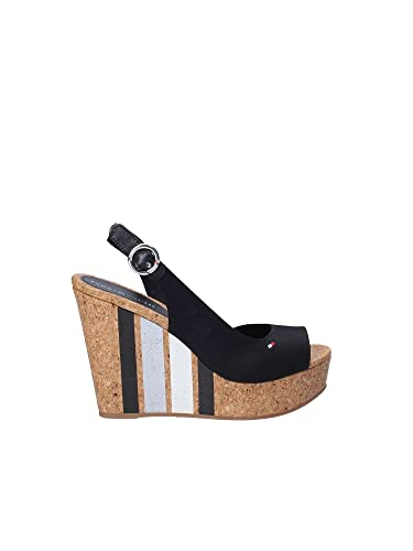 1bae807ef Tommy Hilfiger Women s Shoes High Wedge Sandals FW0FW02794 990 Wedge with Printed  Stripes Size 40 Black  Amazon.co.uk  Shoes   Bags