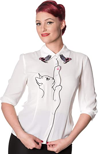 Blue Snow Bird Kitty Cat Butterfly Retro Vintage PLUS Blouse Banned Apparel