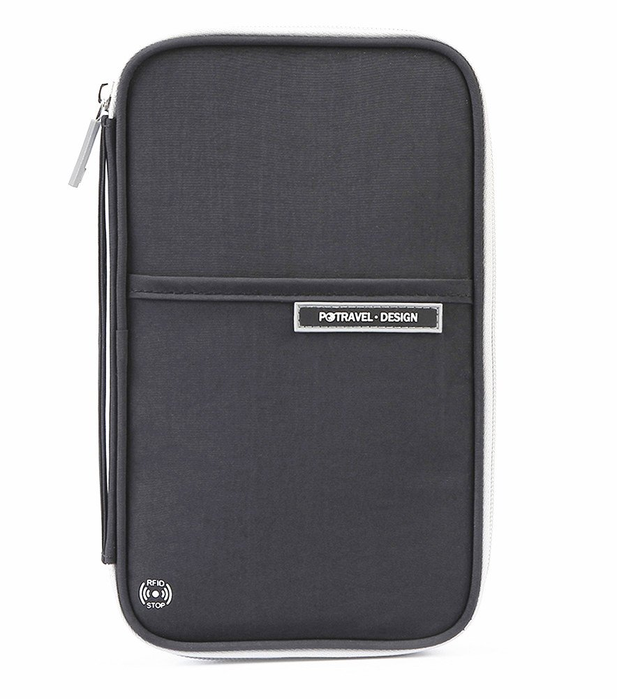 Travel Wallet Family Passport Holder, RFID Document Organizer Bag, Black
