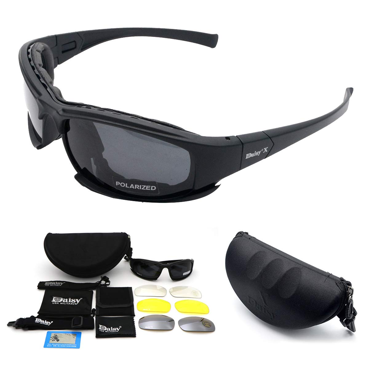 Military Goggles Tactical, MASO polarized daisy x7 army sunglasses Protective Glasses With 4 Interchangeable Lens, Polarized Sport Sunglasses for Men and Women in Running Cycling Skiing Fishing by Maso
