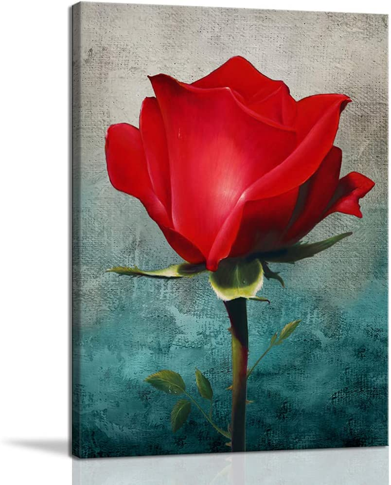 Wall Art for Bedroom Living Room Kitchen Abstract Canvas Wall Art Framed Red Rose Flower Wall Decoration Modern Wall Art Print Floral Picture Blue Ready to Hang Gift for Gilrs Woman 12x16
