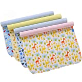 "4 Pack Monvecle Baby Infant Waterproof Bamboo Cotton Changing Pads Washable Resuable Diapers Liners Mats (4 Pack-18""x14…"
