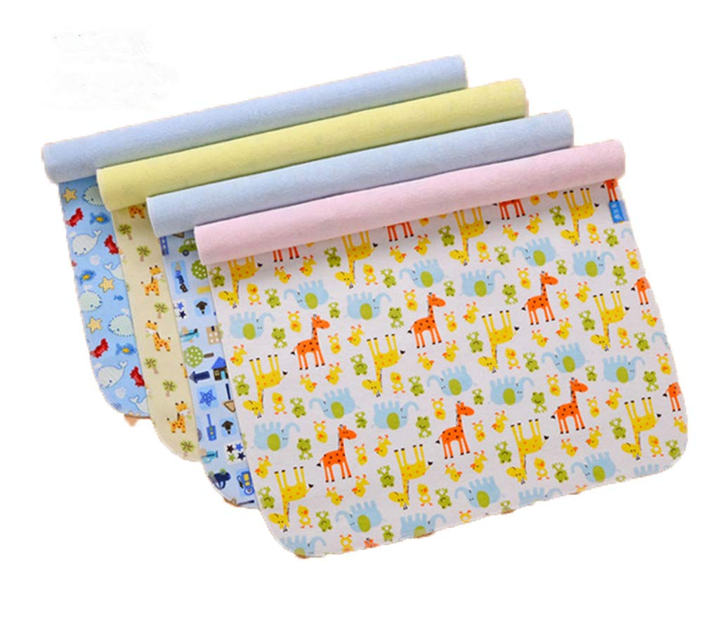 4 Pack Monvecle Baby Infant Waterproof Bamboo Cotton Changing Pads Washable Resuable Diapers Liners Mats (4 Pack-18''x14'') by Monvecle