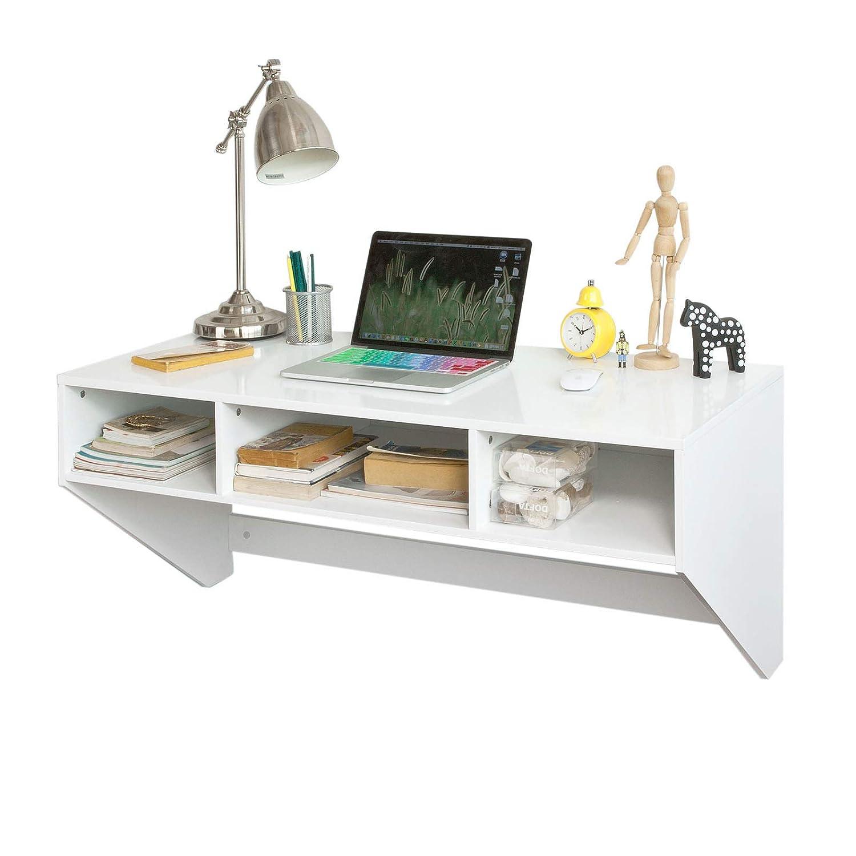 SoBuy® FWT14-W Wandtisch in weiß Wandschrank Schreibtisch Computertisch Arbeitstisch, BHT ca.  90x44x48cm