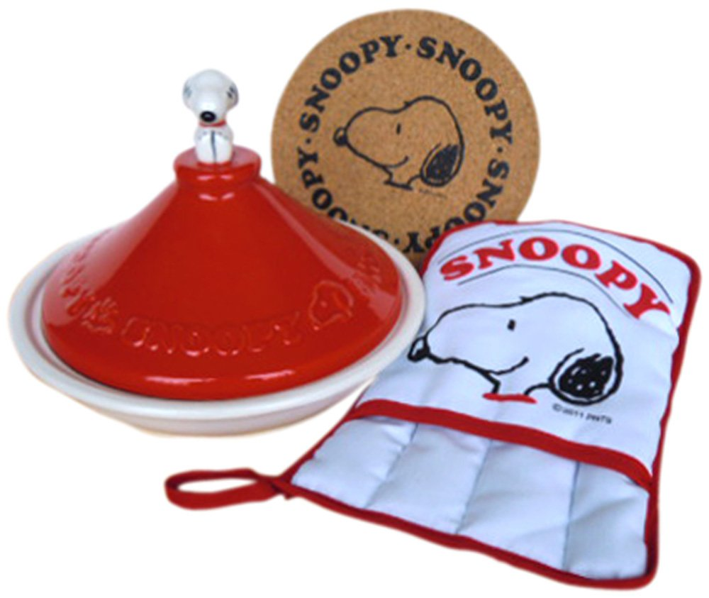 SNOOPY SET ITEMS (RED) Snoopy tagine pot mitten cork set SNC-3TR-CM (Japan import / The package and the manual are written in Japanese) Maruhi Hida pottery