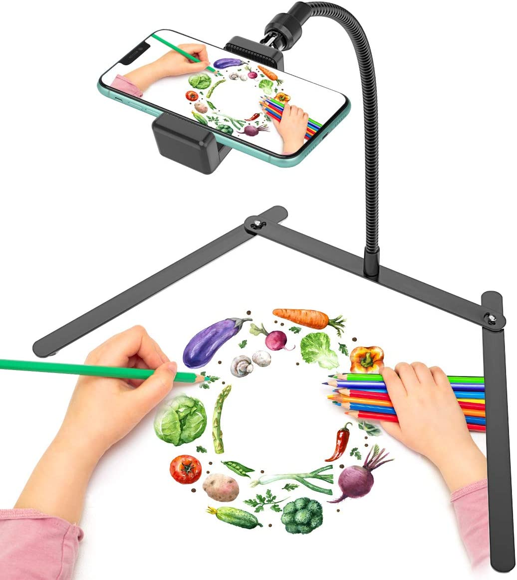 Adjustable Gooseneck Cellphone Holder,Overhead Phone Mount,Table Top Teaching Online Stand for Live Streaming and Online Video and Food Crafting Demo Drawing Sketching Recording