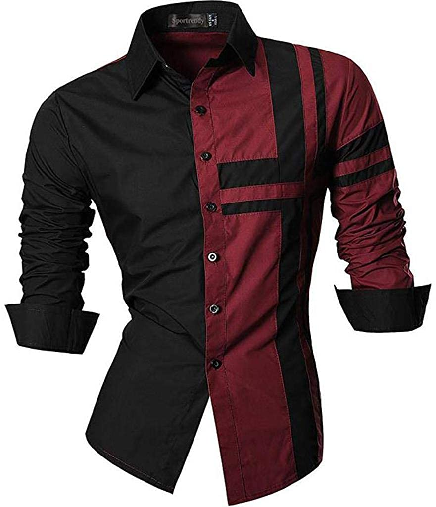 TALLA US S(Shirt chest 99-101cm). Sportrendy Hombre Casual Slim Dragon Tattoo Manga Larga Button Down Camisa Shirt JZS041