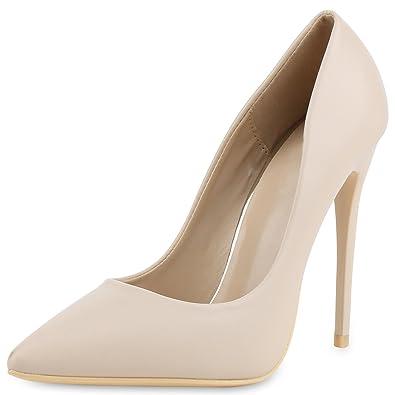 SCARPE VITA Damen Pumps High Heels mit Pfennigabsatz Lack Nieten