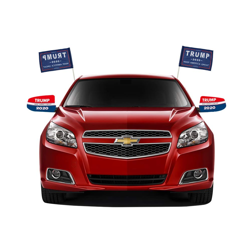QSUM Donald Trump 2020 Car Flag and Side Mirror Cover Kit for Cars SUV Truck Van,Adjustable and Contains Flag Pole,4 Pack