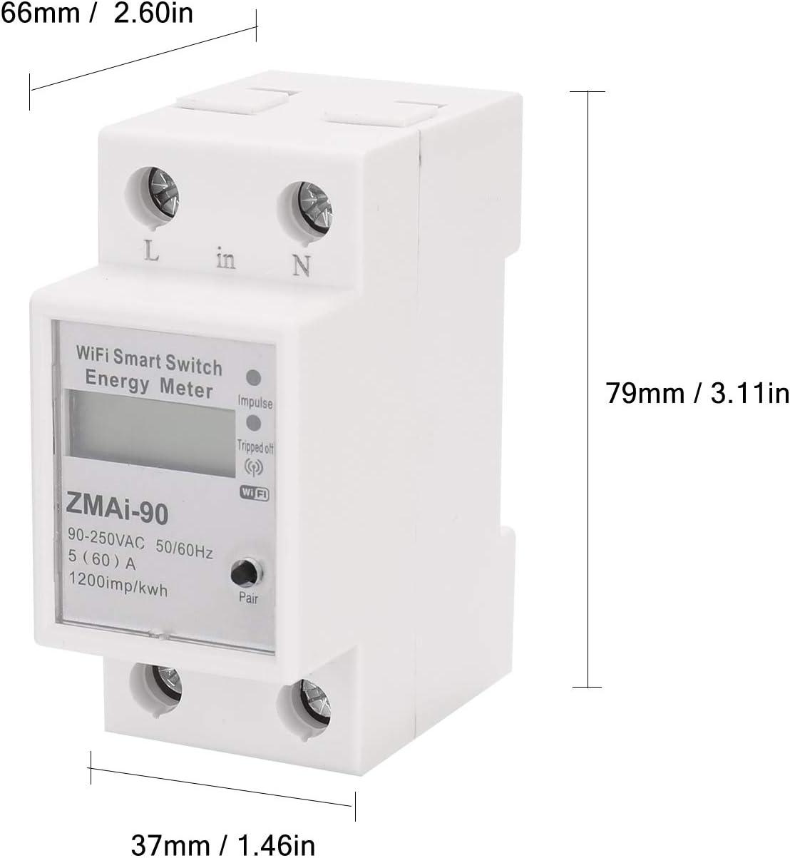 Kecheer Medidor de energ/ía el/éctrica digital Medidor de electricidad de carril DIN monof/ásico Medidor el/éctrico multifunci/ón monof/ásico de dos cables