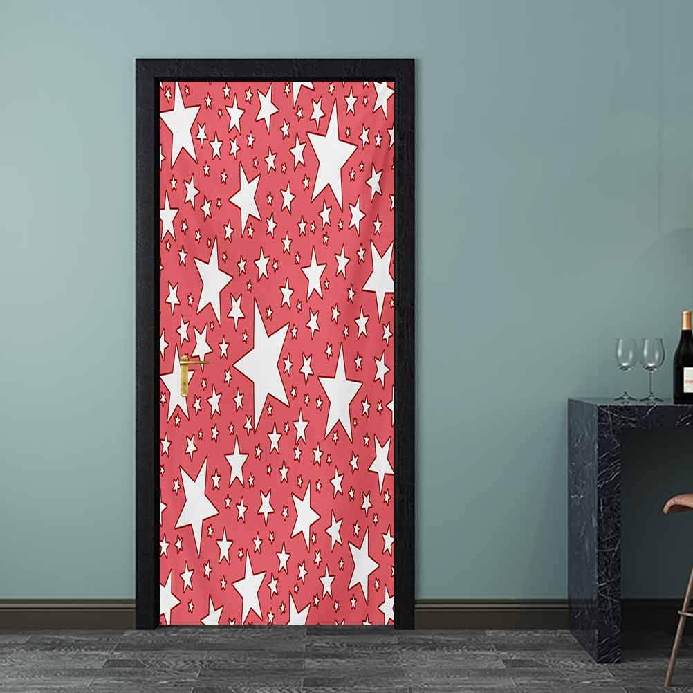 Coral 8x10 FT Photo Backdrops,Big and Small Star Figures Burst Youthful Energetic Celebration Design Festive Background for Party Home Decor Outdoorsy Theme Vinyl Shoot Props Coral Red White