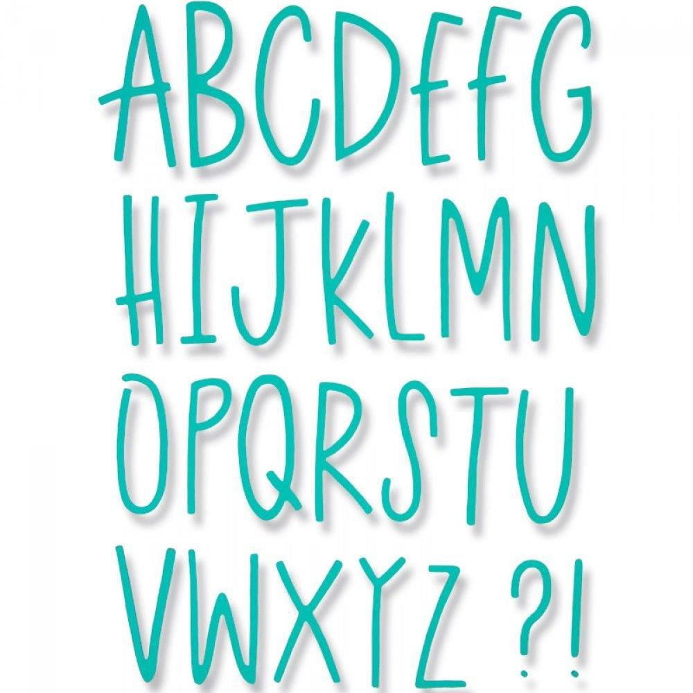 Sizzix 661040 Delikate Buchstaben Thinlits Stanzen, 28 in Packung, Stahl, Mehrfarbig, 26.2 x 14.5 x 0.1 cm Ellison