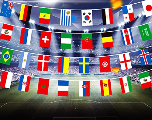 2018 FIFA World Cup Russia Soccer Flag Fabric Bunting Flags World football String Flags International Banners Celebration 32 PCS Nation Countries 32.8 Feet for Party Home Club Celebrating (World cup)