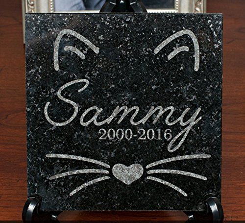 6 x 6 Engraved Granite Cat or Kitten Memorial by Barefoot Design