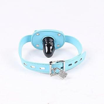 Leather locking bondage blue